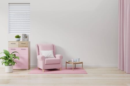 Photo pour The pink armchair in the living room wall color white,3d rendering - image libre de droit