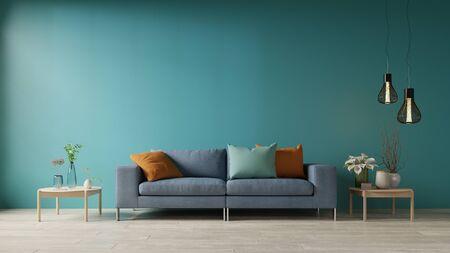 Photo pour Blue living room with sofa and table,3d rendering - image libre de droit
