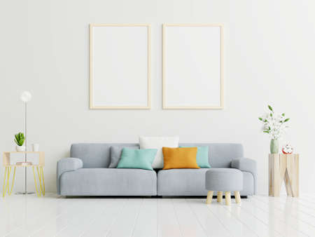 Photo pour Poster mockup with vertical frame standing on floor in living room interior with gray sofa.3D rendering - image libre de droit