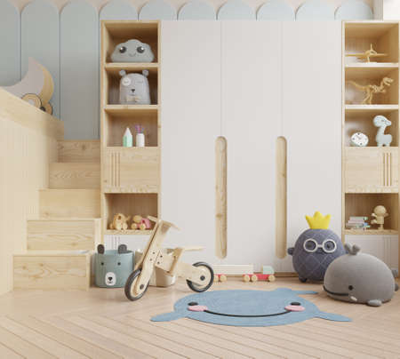 Photo pour Mock up wall in the children's room in white wall background .3d rendering - image libre de droit