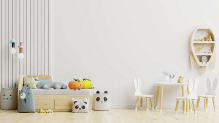 Photo pour Mockup wall in the children's room with Chair set./wall white colors background.3D Rendering - image libre de droit