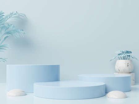 Photo pour Winner podium abstract composition with blue background,3d rendering - image libre de droit