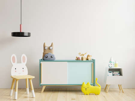 Photo pour Mock up wall in the children's room in white wall background.3d rendering - image libre de droit
