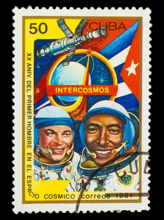 CUBA - CIRCA 1981: A stamp printed in CUBA, 20th anniversary first flight into space , 50 centavos, cosmonaut Yuri Romanenko Arnaldo Tamayo Mendez ,circa 1981