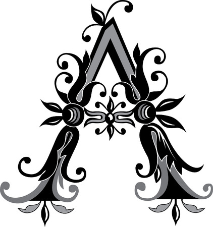 Foliage English alphabet, letter A, Black and White