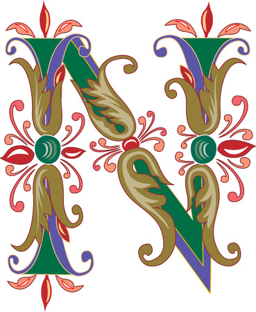 Foliage English alphabet, letter N, Colored