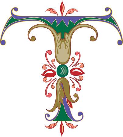 Foliage English alphabet, letter T, Colored