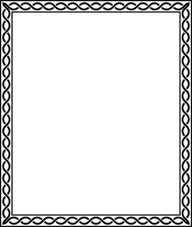 Simple line vector frame, Black and White