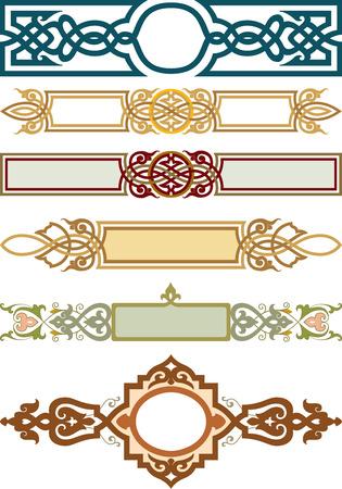 Illustration pour Set of decorative design element, ribbon style - image libre de droit