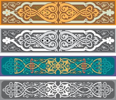 Illustration pour Set of oriental ribbons and page decoration  - image libre de droit