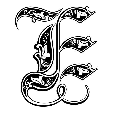 Beautiful decoration English alphabets, Gothic style, letter E