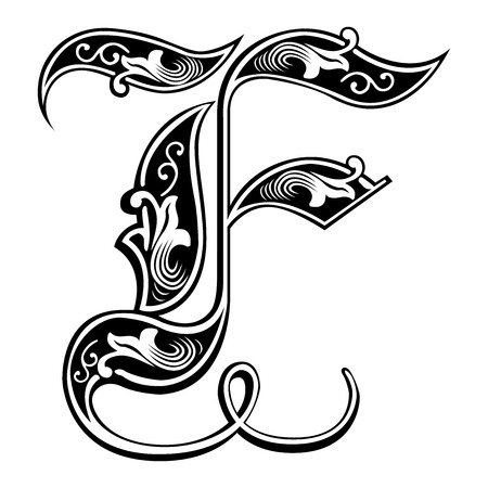 Beautiful decoration English alphabets, Gothic style, letter