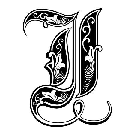 Beautiful decoration English alphabets, Gothic style, letter I