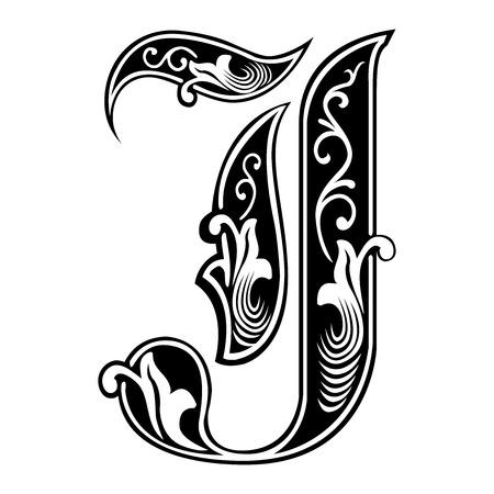 Beautiful decoration English alphabets, Gothic style, letter J