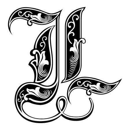 Beautiful decoration English alphabets, Gothic style, letter L