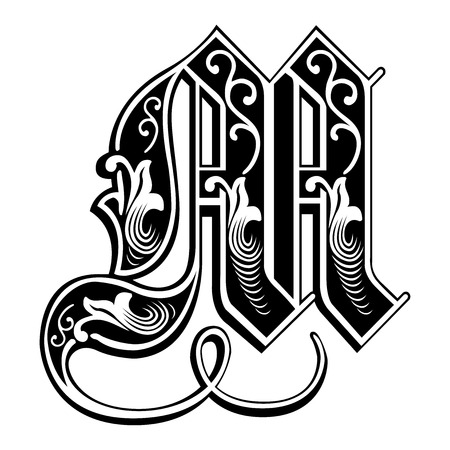 Beautiful decoration English alphabets, Gothic style, letter M