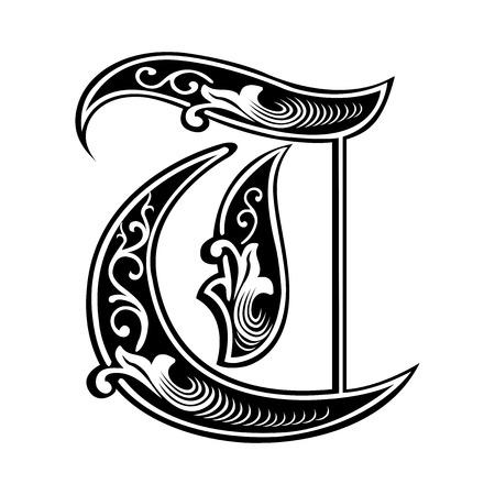 Beautiful decoration English alphabets, Gothic style, letter T
