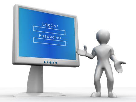 Photo pour Monitor with Login and password. 3d - image libre de droit