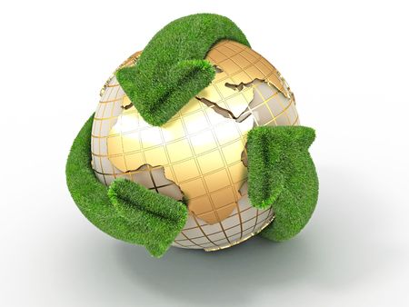 Earth with turning arrows. Recycling symbol. 3d