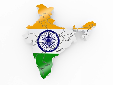 Map of India in Indian flag colors. 3d