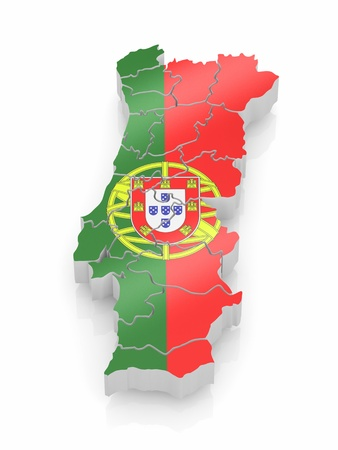Map of Portugal in Portugese flag colors. 3d