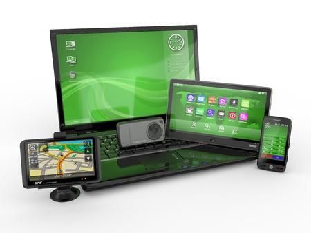 Photo pour Electronics. Laptop, mobile phone, tablet pc and gps. 3d - image libre de droit