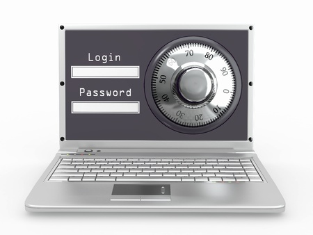 Laptop with steel security lock. Password. 3d