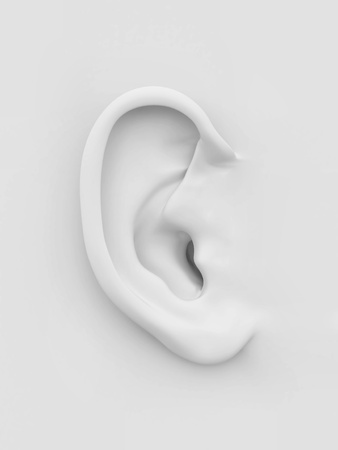 Three-dimensional white soft human ear on white background. 3d