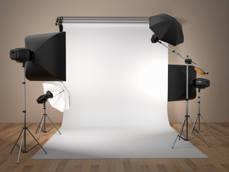 Photo for Photo studio equipment  Space for text  3d - Royalty Free Image
