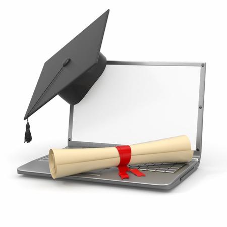Photo pour E-learning graduation. Laptop, diploma and mortar board. 3d - image libre de droit