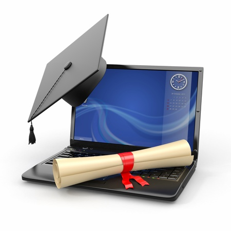 Photo pour E-learning graduation  Laptop, diploma and mortar board  3d - image libre de droit
