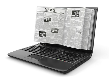 News  Newspaper as  laptop screen on white background  3d