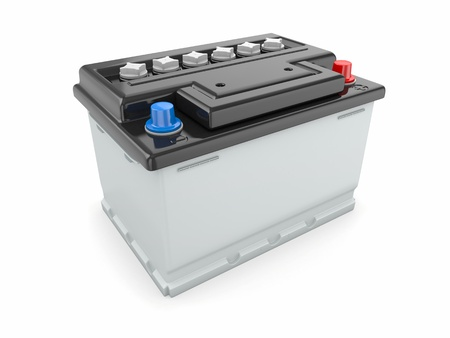 Car battery on white background  Three-dimensional image