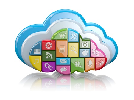Cloud computing  Clouds as application icons on white background  3d