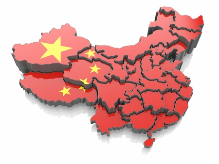 Map of China in national flag colors  3d