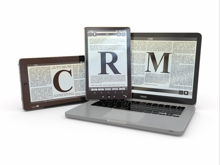Text CRM on screen of laptop, tablet  pc  3d