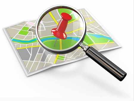 Find location  Loupe and thumbtack on map  3d