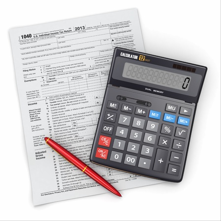 Tax Return 1040, calculator and pencil on white background  3d