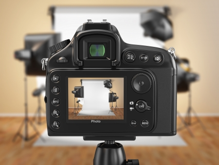 Digital camera in studio with softbox and flashes  3d
