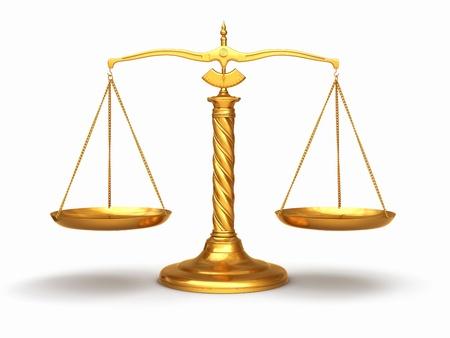 Foto de Gold scales on white isolated background - Imagen libre de derechos