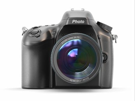 Digital photo camera on white isolated background
