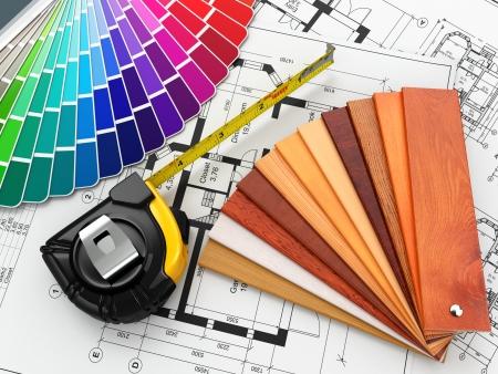interior design. Architectural materials, measuring tools and blueprints. 3d