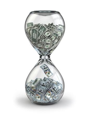 Photo pour Deposit or investment. Growth of the dollar. Hourglass  3d - image libre de droit