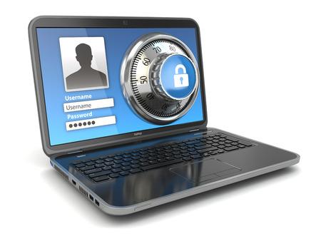 Photo pour Internet Security.  Laptop and safe lock. 3d - image libre de droit