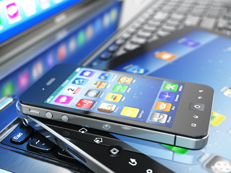 Mobile computing devices. Laptop, tablet pc and  cellphone. 3d