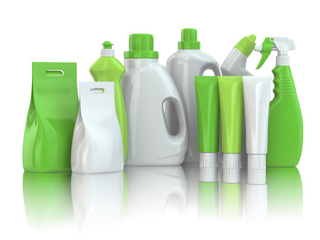 Household chemical detergent bottles on white isolated background.
