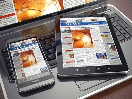 News. Media concept. Laptop, tablet pc and smartphone. 3d