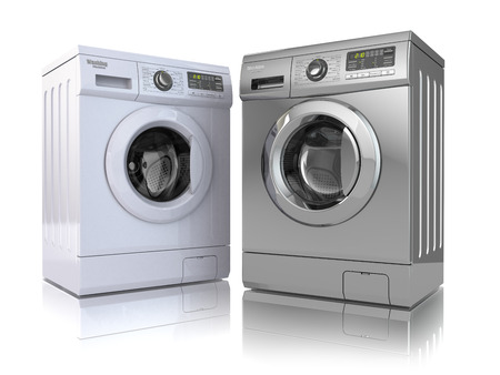 Photo for Washing machine on white isolated background. 3d - Royalty Free Image