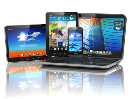 Mobile devices. Laptop, smartphone and tablet pc. 3d