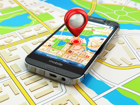 Foto de Mobile GPS navigation concept. Smartphone on map of the city, 3d - Imagen libre de derechos